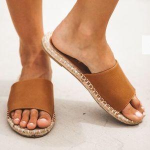 Faux Leather Espadrille Slide Sandal
